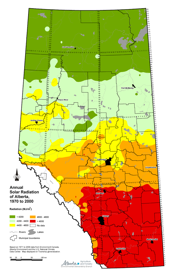 Agricultural Land Resource Atlas of Alberta Annual Solar Radiation