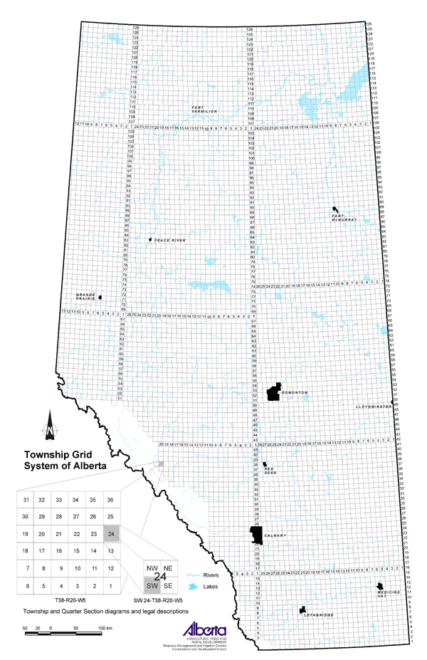 Alberta Township Map Agricultural Land Resource Atlas of Alberta   Township Grid System  Alberta Township Map
